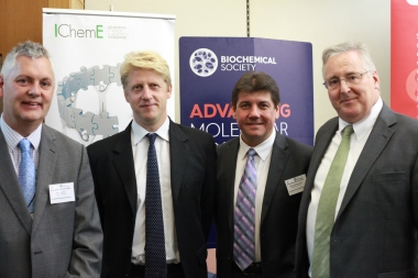 Mark Downs, Jo Johnson, Stephen Metcalfe, Stephen Benn at the Parliamentary links day organised by the society of biology