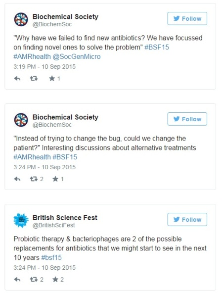 Tweets from the event discussing alternative antibiotic treatments